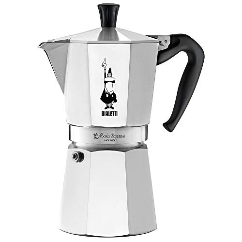 Bialetti 6801 moka stovertop coffee maker, 9-Cup, Aluminum (Metal Coffee Pot)