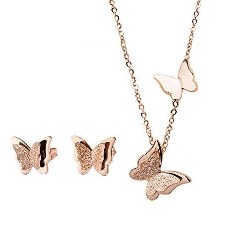 Butterfly Earring Set Stud (YOUNICE 18k Rose Gold Butterfly Jewelry Set Necklace Stud Earrings for Women Girl)
