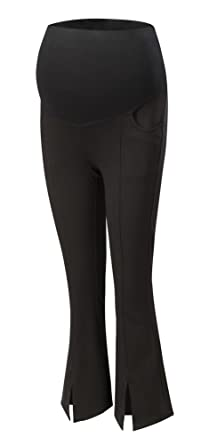 8525343e29c5f Foucome Womens Maternity Bootcut Stretch Career Dress Pants Work Office Over -Bump Trousers Black