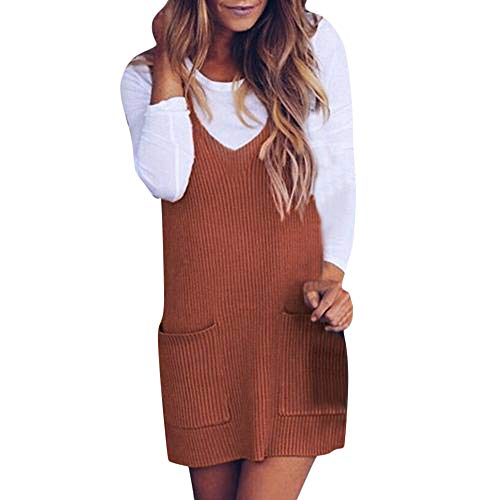 NRUTUP Womens Mini Dress Casual Solid Ribbed V-Neck Knitted Shift Tank Vest Sweater(XS,Brown) ()