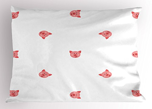 Pig Pillow Sham by Ambesonne, Pigs Cartoon Style Happy Hayfield Homestead Nature Happiness Symmetrical, Decorative Standard Queen Size Printed Pillowcase, 30 X 20 Inches, White Light Pink Coral