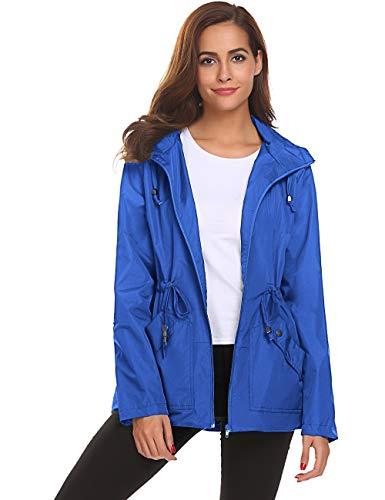 (Waterproof Jacket Women with Hood Breathable Light Packable Liner Stylish Belt)