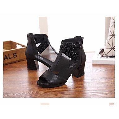Las mujeres sandalias de Primavera Club zapatos casual PU Chunky talón oro negro Gold