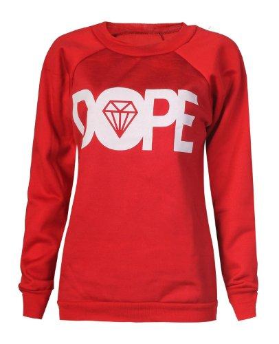 Forever Womens Dope Geek Brookleyn Boy Cocaine Print Fleece Sweatshirt ML-10//12, Cocaine Charcoal