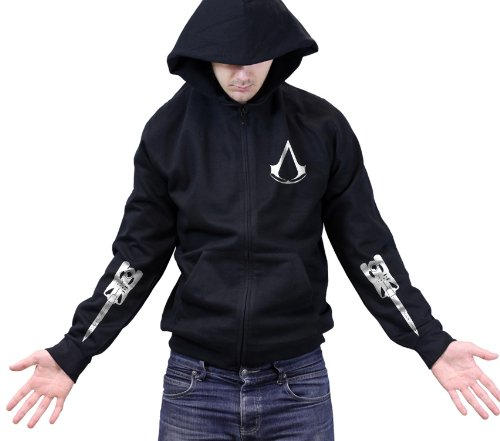Assassins Creed Blades Zipped Hoody - Black, Size: 14-15 Y/O (Adult Small)