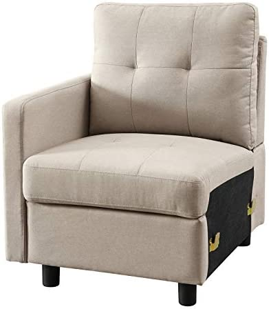 DAZONE Light Gray Linen Fabric Modular Left Arm Facing Chair