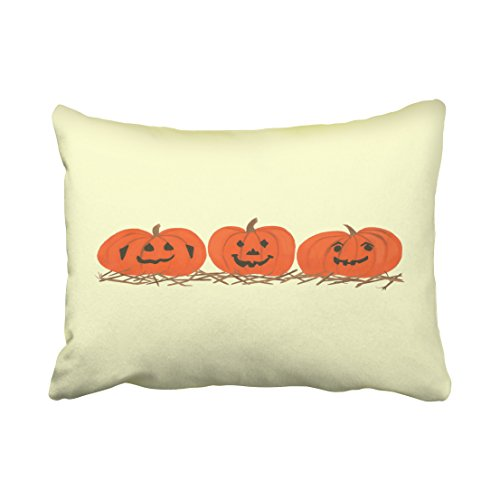 Accrocn Three Happy Pumpkins In Hay Halloween Pillow Covers Cushion Cover Case 20X26 Inches Pillowcases One (Hay Day Game Halloween)