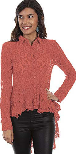Scully Women's HC479 Hi/Lo Lace Button Front Blouse, Coral - Small
