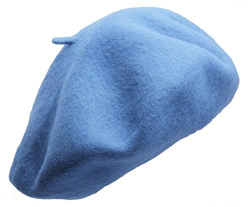 - Beret hat Classic Solid Color 100% Wool soft warm Beret Beanie Hat Winter Autumn Fashion Caps (Blue)