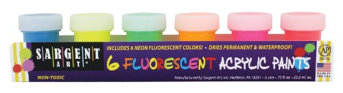 Sargent Art 66-5521 6-Jar Fluorescent Acrylic Set