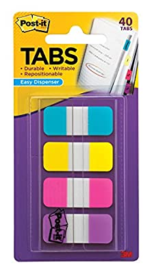 Post-it Tabs.625 in. Solid, Aqua, Yellow, Pink, Violet, Durable, Writable, Repositionable, Sticks Securely, Removes Cleanly, 10/Color, 40/Dispenser, (676-AYPV)