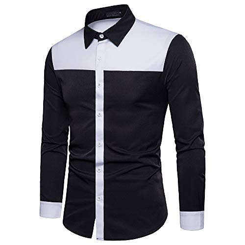 Sunhusing Spring Fall Men's Fashion Black & White Patchwork Long Sleeve Lapel Shirt Slim Stitching Top Blouse