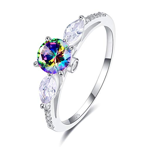 - Narica Women's 925 Sterling Silver Filled Round Cut Rainbow Topaz Promise Proposal Engagement Wedding Rings Size 6