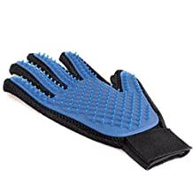Pet Care Grooming Glove Brush and Deshedding Tool with Gentle Rounded Silicone Tips for Cats Dogs Horses and Bunnies, Five Fingers Pet Hair Massage & Bathing Brush & Comb