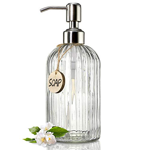 JASAI 18 Oz Clear Glass Soap Dispenser with Rust Proof Stainless Steel Pump, Refillable Liquid Hand Soap Dispenser for Bathroom, Premium Kitchen Soap Dispenser (Clear) ()