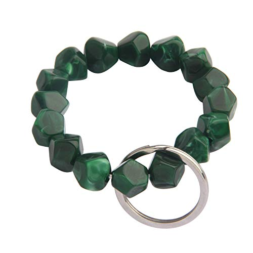 CHOROY Elastic Functional Beaded Wrist Keychain Bracelet Handmade Acrylic Bead Elastic Bracelet (Blackish Green)