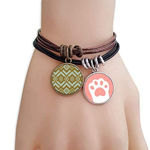 DIYthinker Tan Blue Symmetrical Square Illustration Cats Bracelet Leather Rope Wristband Couple Set