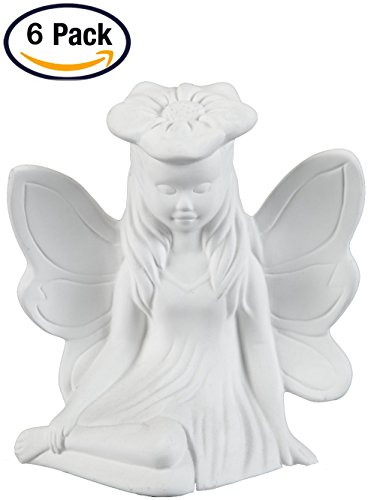 Creative Hobbies Resting Garden Fairy, Case of 6, Unfinished Ceramic Bisque, With How To Paint Your Own Pottery Booklet