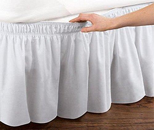 Faldon con banda elastica para cama, 45 cm blanco blanco TallaQueen/King