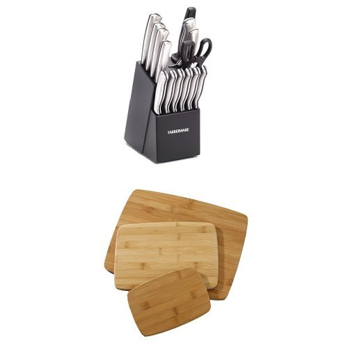 Stamped Stainless-Steel Cutlery Set and Classic 3-Piece Bamboo Cutting Board Set Bundle ()