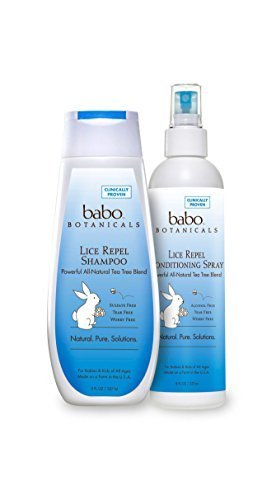 Babo Botanicals All Natural Organic Chemical Free Lice Repelling Shampoo and Conditioning Spray With Rosemary, Tea Tree and Mint and No Harmful Chemicals For Children and Kids, 8 fl. oz. each