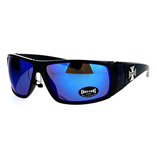 Choppers Sunglasses Mens Wrap Shield Frame Spider Webs Black Blue, Blue - Sun Chopper Glasses