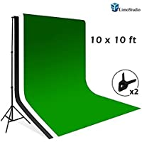 LimoStudio 10 x 8.5 Background Stand Backdrop Support System Kit + 10 x 10 Green Chroma Key Muslin Backdrop + 10 x 10 Black Muslin Backdrop + 10 x 10 White Muslin Backdrop Background, AGG1731