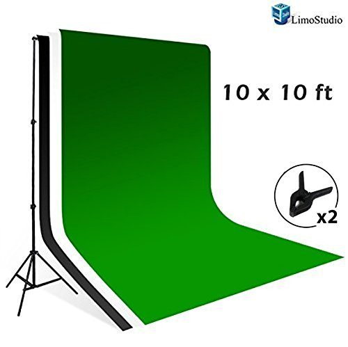 LimoStudio 10' x 8.5' Background Stand Backdrop Support System Kit + 10' x 10' Green Chroma Key Muslin Backdrop + 10' x 10' Black Muslin Backdrop + 10' x 10' White Muslin Backdrop Background, AGG1731