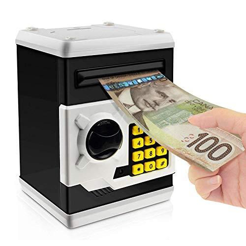 Jhua Cartoon Piggy Bank Password Electronic Money Bank Safe Saving Box ATM Bank Safe Locks Panda Smart Voice Prompt Money Piggy Box for Children/ Christmas Gift (Black)