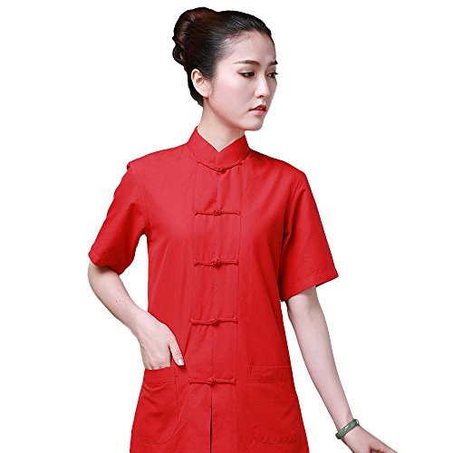 ZooBoo Chinese Traditional Clothing Dress - Tang Style Tai Chi Tang Suit Short-sleeved Martial Arts Kung Fu Uniforms Outfit Costume Suit Shirt Blouse Apparel Clothing for Women (Wine Red, L)
