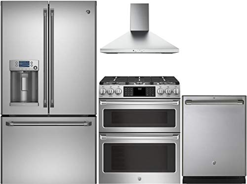 GE CAFE 4-Piece Stainless Steel Kitchen Package with CFE28TSHSS 36