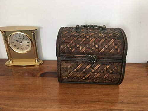ON Sale Vintage 1960s Wood and Bamboo Box Jewelry Box