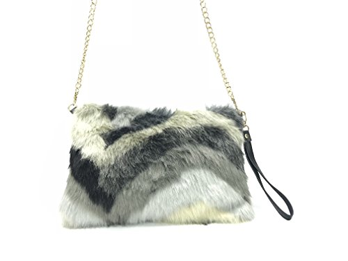 GoodCape OLIVIA Series faux fur ladies sling bag with Gold chain in chevron - Womens Handbag Fur