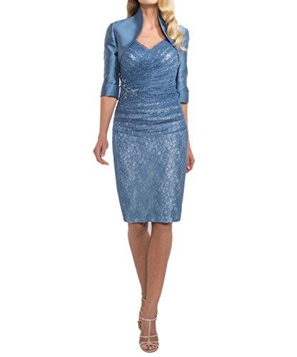 Charmant Damen Blau Glamour Spitze Abendkleider Brautkleider Mit Langarm Brautmutterkleider Festlichkleider