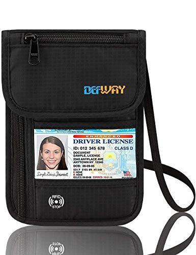 Defway Neck Travel Wallet RFID Passport Holder Waterproof Stash Pouch