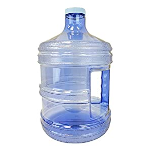 1 Gallon or 5 Liter BPA FREE Reusable Plastic Drinking Water Big Mouth Bottle Jug Container with Holder - Blue