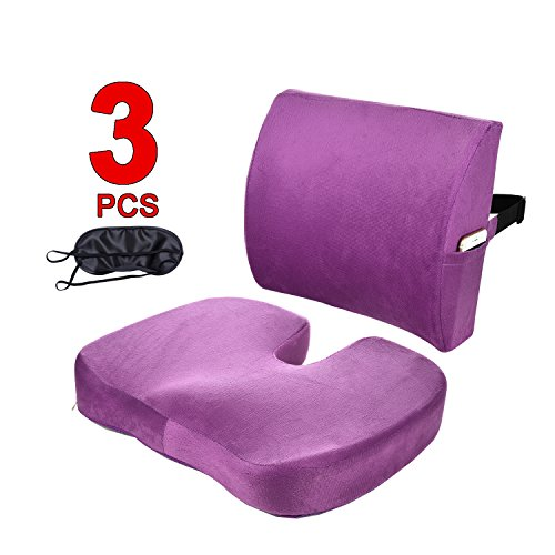 Qutool Orthopedic Memory Foam Seat Cushion and Lumbar Support Back Pillow for Lower Back Tailbone and Sciatica Relief Office Chair and Car Seat Cushion Set with Adjustable Strap ()