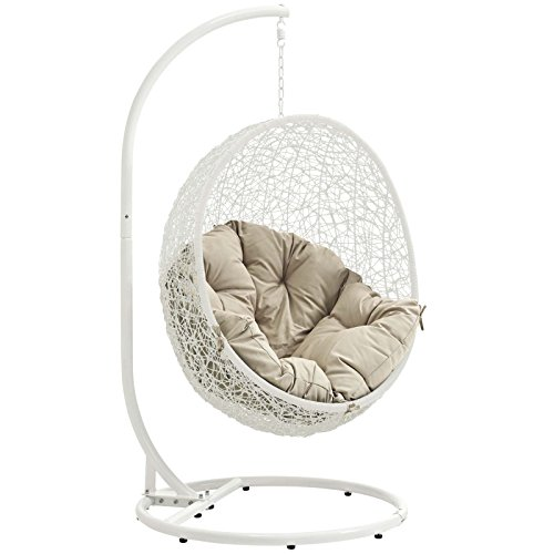 Incredible Modway Eei 2273 Whi Bei Hide Wicker Rattan Outdoor Patio Balcony Porch Lounge Egg Swing Chair Set With Stand White Beige Frankydiablos Diy Chair Ideas Frankydiabloscom