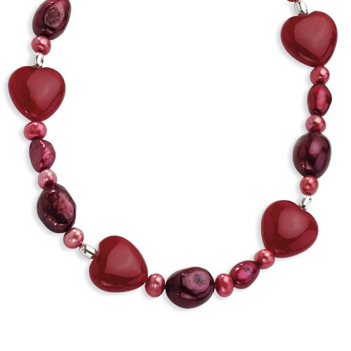 (West Coast Jewelry Sterling Silver Red Jade Hearts/Freshwater Cultured Pearl Necklace - 17 Inches Long)