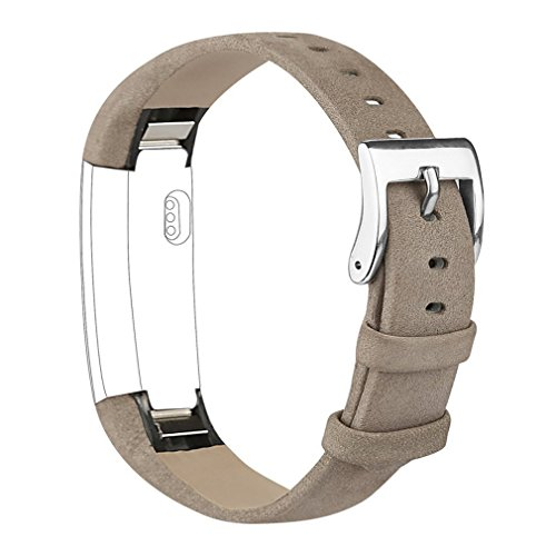 Tobfit Fitbit Alta HR and Fitbit Alta Leather Bands Replacement Leather Watch Bands With Stainless Steel Buckle for Fitbit Alta HR and Alta (Chocolate Brown+Suede Grey) by Tobfit (Image #3)