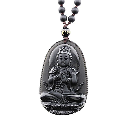 FOY-MALL Natural Obsidian Guardians of Chinese Zodiac Pendant Necklace Vairocana XL1270e]()