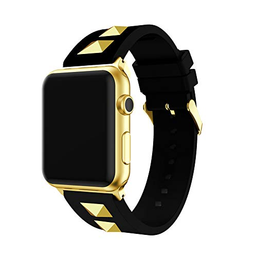 3H-SENDER Gold Rivet Silicone Band for Apple Watch Soft Silicone Band Strap Stylish Rivet Replacement Wristband Sport Bracelet Compatible with iWatch Series 4 3 2 1 (New-Black, 42mm/44mm)