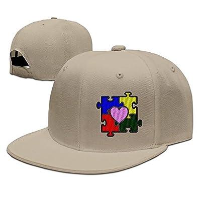 Autism Heart Puzzle Autism Awareness Embroidery Solid Flat Brim Bill Baseball Hat Snapback Hat Hip Hop Cap