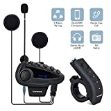 V8S 5 Riders Helmet Intercom Systems with Advanced Noise Cancellation and Remote Control Handle,Motorcycle Bluetooth Headset with FM Radio and NFC Call Answer Reject,Range up to1200M