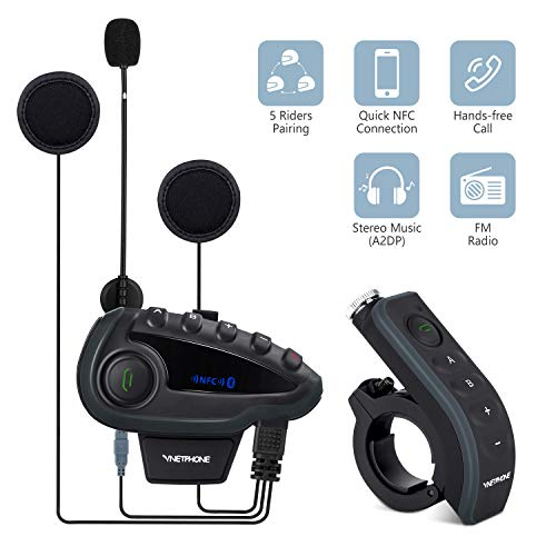 - V8S 5 Riders Helmet Intercom Systems with Advanced Noise Cancellation and Remote Control Handle,Motorcycle Bluetooth Headset with FM Radio and NFC Call Answer Reject,Range up to1200M