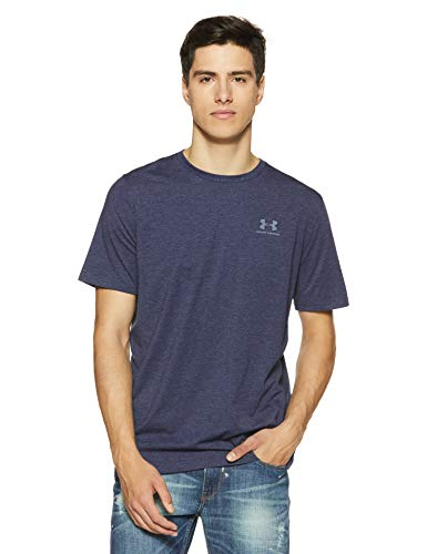 Under Armour CC Left Chest Lockup Men's Short-Sleeve T-Shirt, Blue (Midnight Navy/Steel (410)), Small