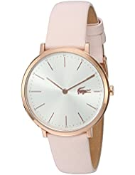 Lacoste Womens Quartz Gold and Leather Watch, Color:Pink (Model: 2000948)
