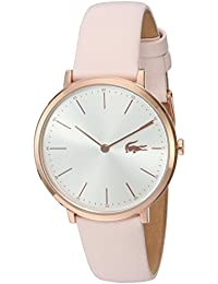 Women's Quartz Gold and Leather Watch, Color:Pink (Model: 2000948)