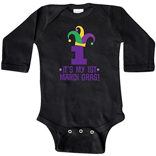 inktastic - 1st Mardi Gras Jester Hat Childs Long Sleeve Creeper 12 Months (Jester Long Sleeve)