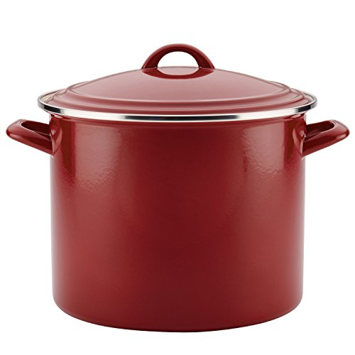 Ayesha Curry Enamel on Steel Stockpot, 12-Quart, Sienna Red (Soup Sienna)